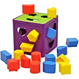 YIXIN Plastic Geometric Square Shape Sorter Cube Baby First Blocks Shape-Sorting Toy for Early Learning for 3 Year Old