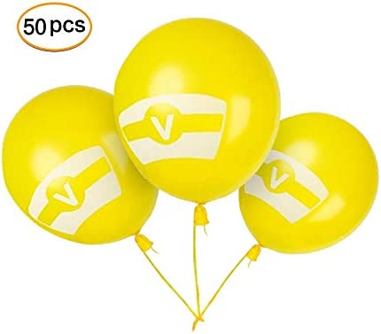 KingYue 10 Latex Yellow V Balloons for Kids Adults Birthday Party Supplies Decoration 50 Pack Gaming Birthday Party Balloons