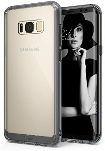 Ringke Fusion Compatible with Galaxy S8 Case Transparent PC Back TPU Bumper Raised Bezels Scratch Protection Qi Wireless Charging Compatible Cover for Galaxy S8 (2017) - Smoke Black