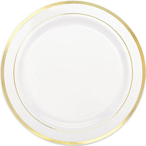 Amscan Elegant Premium Plastic Round & Reusable Dishware White with Gold Trim Pack 10 Party Supplies , 60 Pieces by Amscan