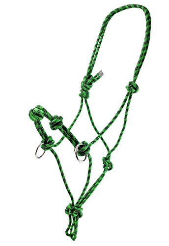 Side Pull Rope Halters with Nickle Plated Rings - Different Colors - By Southwestern Equine (Horse, Green/Black)