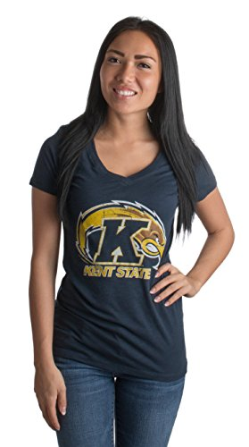 Kent State University | KSU Golden Flashes Vintage Style Ladies' V-neck T-shirt-Vneck,L (Kent Golden Light)