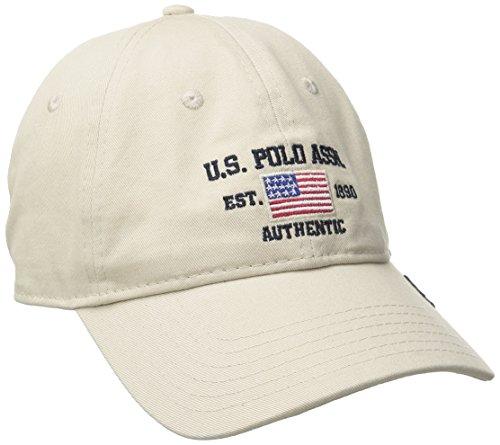 U.S. Polo Assn. Men's Logo American Flag Twill Baseball Cap with Self Strap, Stone, ONE Size (Twill Usa Flag)