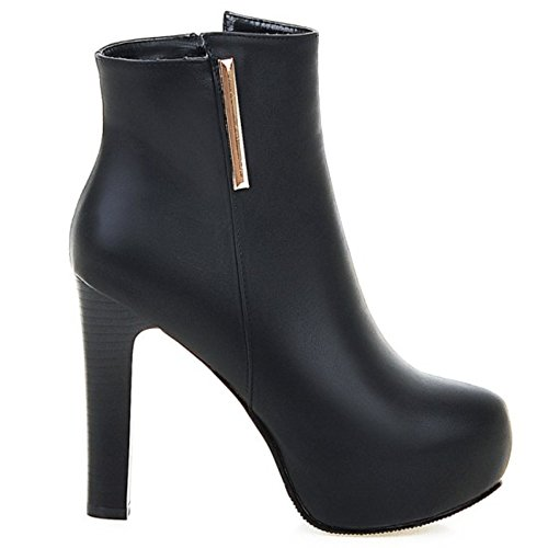 Boots High LongFengMa Women's Stiletto Platform Glitter Black Shoes Ankle Heel 5XwOPxHw