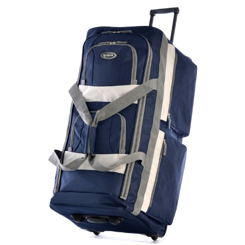 Olympia 8 Pocket Rolling Duffel Bag, Navy (Back Bag Wheeled)
