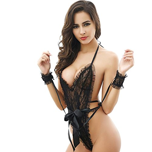 (XILALU Fashion Women's Sexy G-String Teddy Lingerie Sex Attractive Lace Halter Backless Bodysuit Nightwear with Handcuff (One Size, Black))