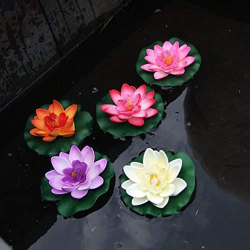 Blanc Silverkial R/ésolument con/çu Durable Artificiel n/énuphar Fleur de flottement Lotus Home Yard Pond Fish Tank Decor 10cm