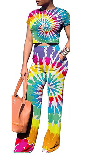 - Voghtic Women Glitter Party 2 Piece Clubwear Outfits for Summer Short Sleeve Crop Top+High Waisted Shiny Pants