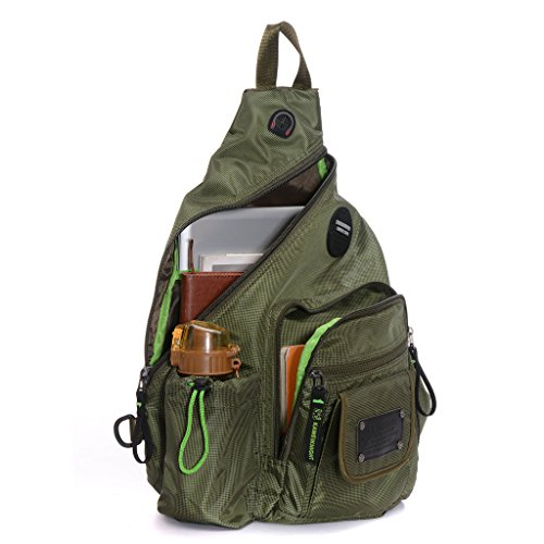 DDDH 13.3-Inch Sling Bag Riding Hiking Bag Single Shoulder Backpack For Men Women(Army green)