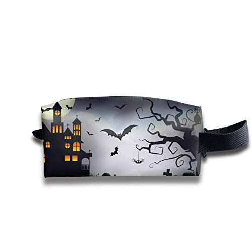 Cartoon Spooky Halloween Portable Pencil Bag Coin Purse Pouch Stationery Storage Organizer Case Cosmetic Makeup Brush Holder with Durable Zipper for Students Office ()