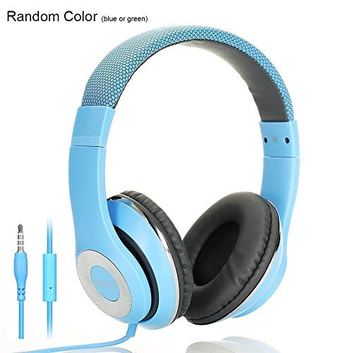 AUSDOM Over-Ear Headphones, Stereo Lightweight Adjustable Wired Headset with Mic, Noise Isolating Comfortable Leather Earphones, Hi-Fi Deep Bass for iPhone iPod iPad Macbook MP3 Cellphones Laptop-Blue ()