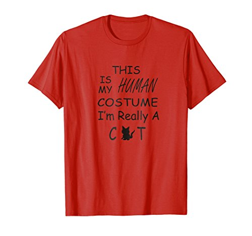 Mens Halloween Saying My Human Costume I'm A Cat Shirt Large Red for $<!--$16.99-->