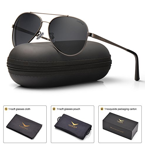 LUENX Men Women Aviator Sunglasses Polarized Grey Lens Gun Metal Frame with Accessories UV 400 - Lens Grey Polarized
