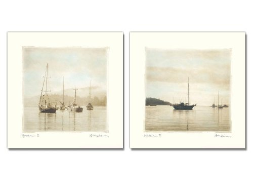 wallsthatspeak 2 Harbor Boats Artistic Photo Prints Sailboat Nautical Art Decor, 12 by 12-Inch ()