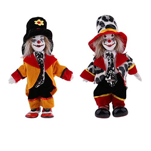 2pcs 7 Inch Porcelain Smiling Clown Doll Wearing Colorful Outfits, Funny Harlequin Doll, Circus Props, Halloween Decor ()