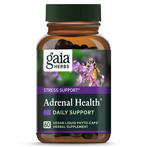 Gaia Herbs Adrenal Health Daily Support, Vegan Liquid Capsules, 60 Count - Stress Relief and Adrenal Fatigue Supplement, Holy Basil, Ashwagandha, Rhodiola Adrenal Complex