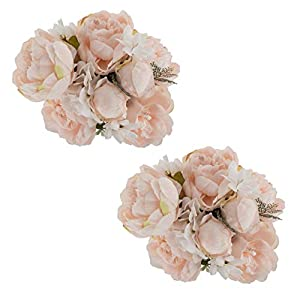 EZFLOWERY 2 Pack Artificial Peony Silk Flowers Arrangement Bouquet for Wedding Centerpiece Room Party Home Decoration, Elegant Vintage, Perfect for Spring, Summer and Occasions (2, Soft Light Pink) 25