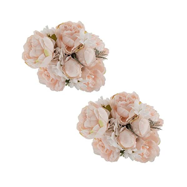 Ezflowery 2 Pack Artificial Peony Silk Flowers Arrangement Bouquet for Wedding Centerpiece Room Party Home Decoration, Elegant Vintage, Perfect for Spring, Summer and Occasions (2, Soft Light Pink)