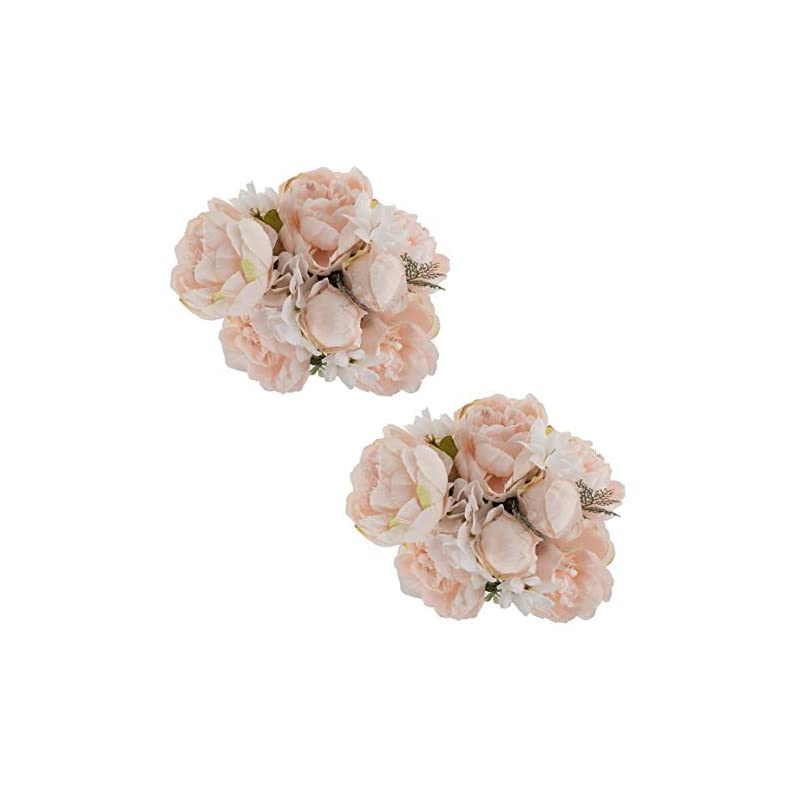 silk flower arrangements ezflowery 2 pack artificial peony silk flowers arrangement bouquet for wedding centerpiece room party home decoration, elegant vintage, perfect for spring, summer and occasions (2, soft light pink)