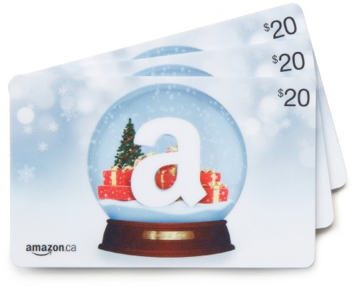Amazon.ca $20 Gift Cards, Pack of 3 (Holiday Globe/Globe de neige Card Design)