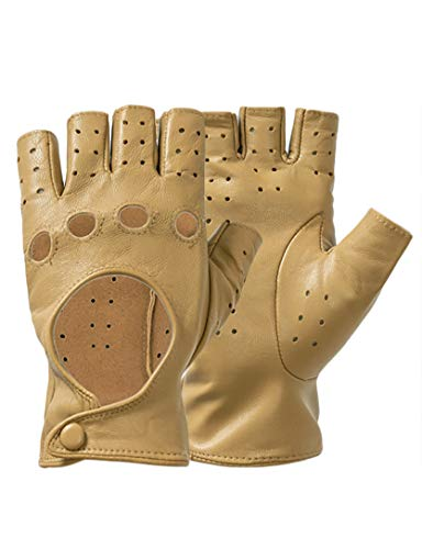 Half Finger Driving Gloves, Classic Italian Genuine Leather Fingerless Fitness Motorcycle Cycling Gloves for Women Brown