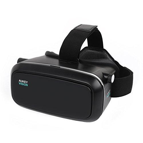 AUKEY 3D VR – Gafas de Realidad Virtual Ajustable para Películas 3D y Juegos de Vídeo Compatible con iPhone Samsung Smartphones de 3.7 -5.5 Pulgadas (VR-O1)