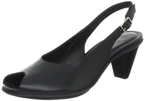 Womens Petal Slingback Sandal (Walking Cradles Women's Solo Sandal,Black Leather,6.5 W US)