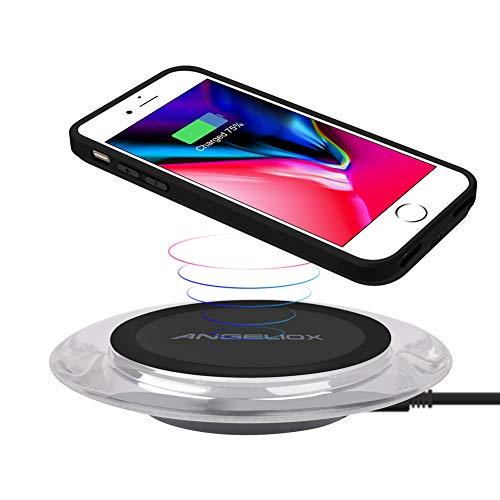 Qi Wireless Charger with Qi Wireless Charging Case for iPhone 7/6s/6(4.7inch- for Regular Size), ANGELIOX 10W Wireless Charging Mat Base for iPhone Xs Max/X/ 8 Plus,Galaxy Note 9/8/S9 Plus/S8+ (Cordless Iphone Charger Case)