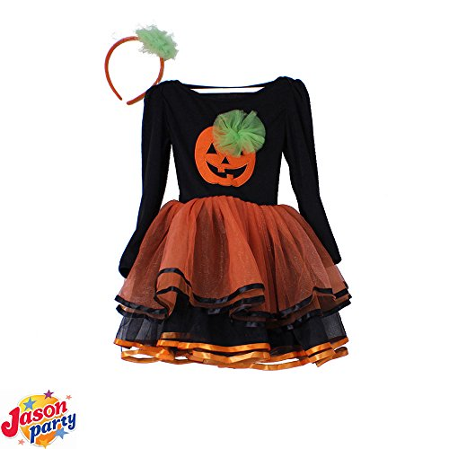 Girls Pumpkin Fairy Halloween Costume Outfits Party Fancy Dress Up Clothes (Halloween Costume 2-3 Years)