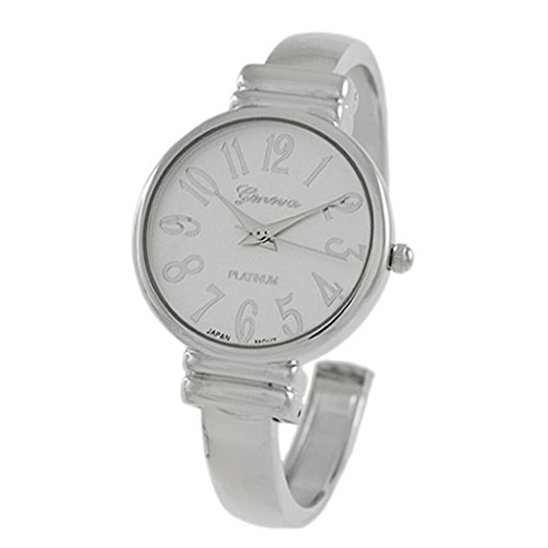 Rosemarie Collections Women's Large Numeral Metal Cuff Watch (Silver - Macy's Watches Sale