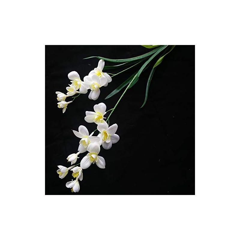 silk flower arrangements 10pcs artificial freesia flower fake butterfly orchid silk cattleya white color 14 heads cymbidium orchid flowers (white)