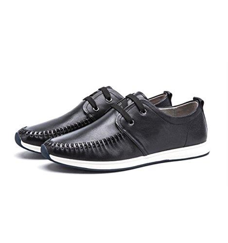 GRRONG Respirant Chaussures Casual Sport En Cuir Pour Homme Résistant à L'usure Choc Pour Sortir Des Chaussures Basses Confortables Confortables Black lyXjwSBEnZ