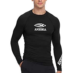 AXESEA Men Long Sleeve Rashguard UPF 50+ Rash Guard Swim Shirt Athletic Swim Tops
