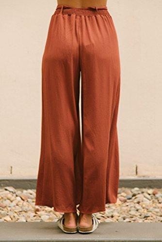 WanYang Mujer Cintura Alta Plisado Pierna Ancha Pantalones cortos Nueve puntos De Pierna Largos Floja Ocasional Naranja Intenso