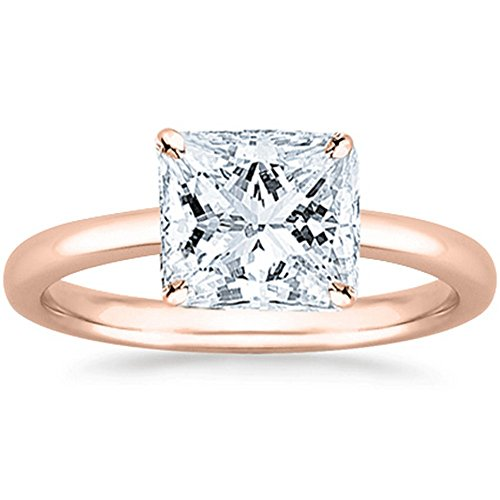 1/2 Carat GIA Certified 18K Rose Gold Solitaire Princess Cut Diamond Engagement Ring (0.5 Ct G-H Color, SI1-SI2 - Color Very Good Clarity Si1