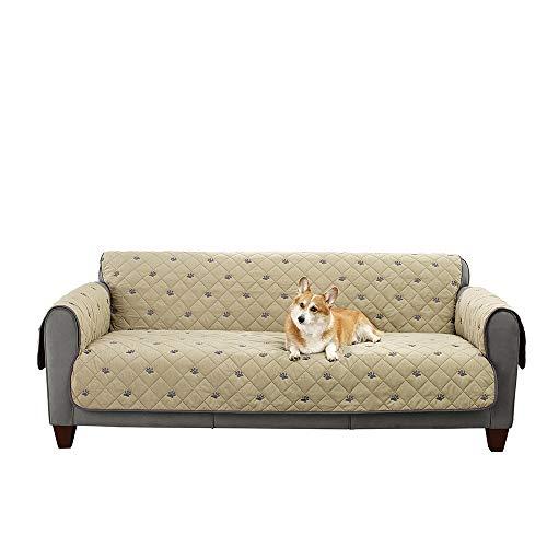 (SureFit  Deluxe Non-Slip Sofa Furniture Cover, Tan)