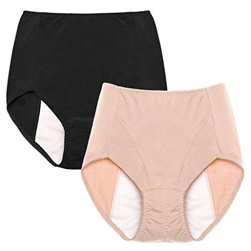 Intimate Portal Women Essentials Leak Proof Incontinence Brief Period Panties Black Beige Medium