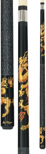 Players D-DRG Midnight Black with Golden Dragons Cue, 21-Ounce -