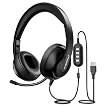 Mpow 224 USB Headset/ 3.5mm Computer Headset, Noise Cancelling Headset with Retractable Microphone, Foldable PC Headphones for Skype, Webinar, Phone, Call Center