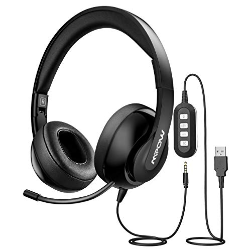Mpow PC Headset 224, Foldable Over-Ear Headset USB Headset/3.5mm...