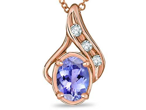Star K Oval 7x5mm Genuine Tanzanite Drop Pendant Necklace 14 kt Rose Gold
