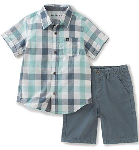 Calvin Klein Baby Boys 2 Pieces Short Set-Plaid Woven Shirt