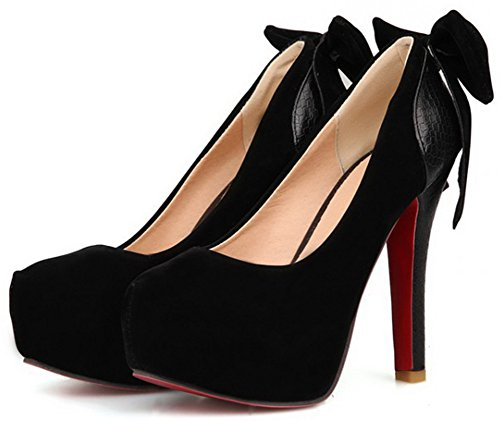 Women's Round Toe Platform High Heels Sexy Party Shoes Black - 6