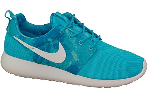 Nike Roshe Run Print 599432-005 - Zapatillas para mujer, color gris, talla 38.5 Clearwater/White/Dk Elctrc Blu