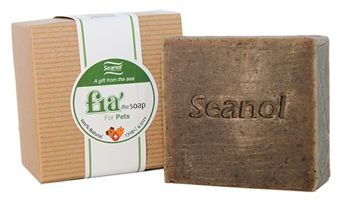 Fia Seanol Soap, 100% Natural Bar Soap for pets, reduce itching for pets, reducing pet's odor, Seanol, Basil, Tea Tree Essential oil 4.5 oz(130g) +