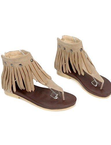 ShangYi Sandaletten für Damen Damenschuhe - Sandalen - Kleid / Lässig - Vlies - Flacher Absatz - Vorne offener Schuh / Modische Stiefel - Schwarz / Gelb / Beige , yellow-us4-4.5 / eu34 / uk2-2.5 / cn3