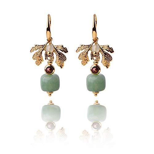 ANDANTINO Women's 14K Gold Plated Ethnic Piercing Earrings Retro Style Jewelry, Handcrafted Temperament Vintage Ear Hook- Long Dangle Ear Drop for Girls (Leaf Ear Hook)
