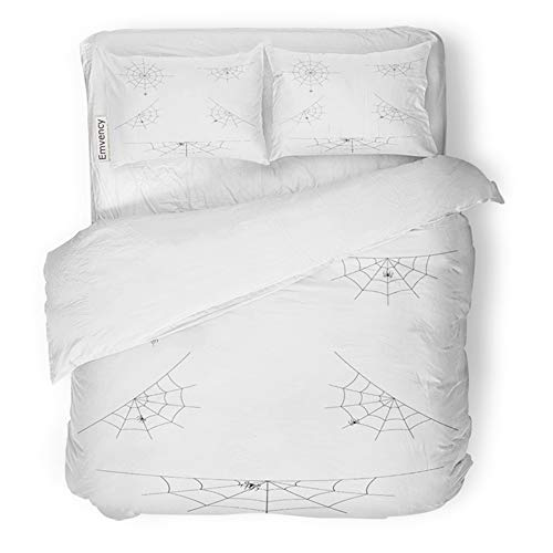 (Emvency Bedding Duvet Cover Set Twin (1 Duvet Cover + 1 Pillowcase) Net of Spider Webs Cobwebs for Halloween Abandon Abandoned Hotel Quality Wrinkle and Stain)