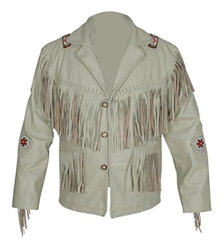 (Baba Geniuse International Men's Genuine Leather Cowboy Jacket Fringe and Beaded Size Small to 5XL (XXL))