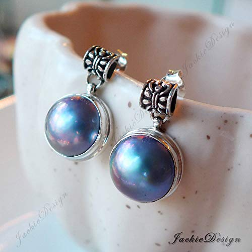Purple Grey Mabe Pearl Drop Bali Sterling Silver Earrings Post JD135